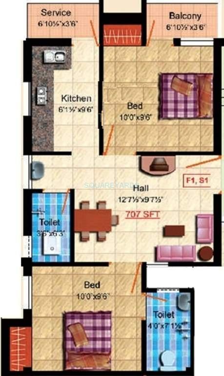 steps stone raghava apartment 2bhk 707sqft1
