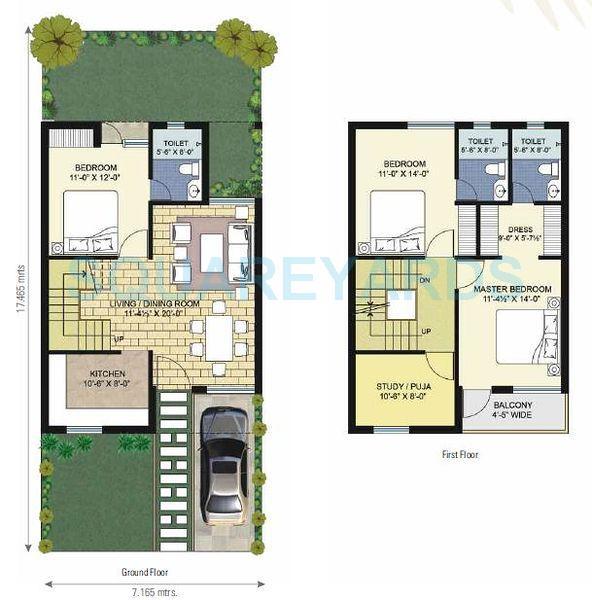 unitech palm villas villa 3bhk 1545sqft1