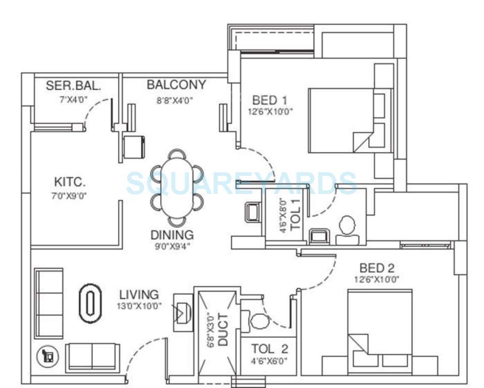 vishwakarma properties sky park apartment 2bhk 1064sqft1