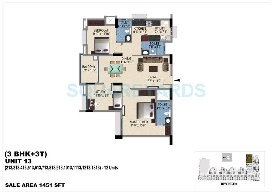 vishwakarma properties skypod apartment 3bhk 1451sqft 1