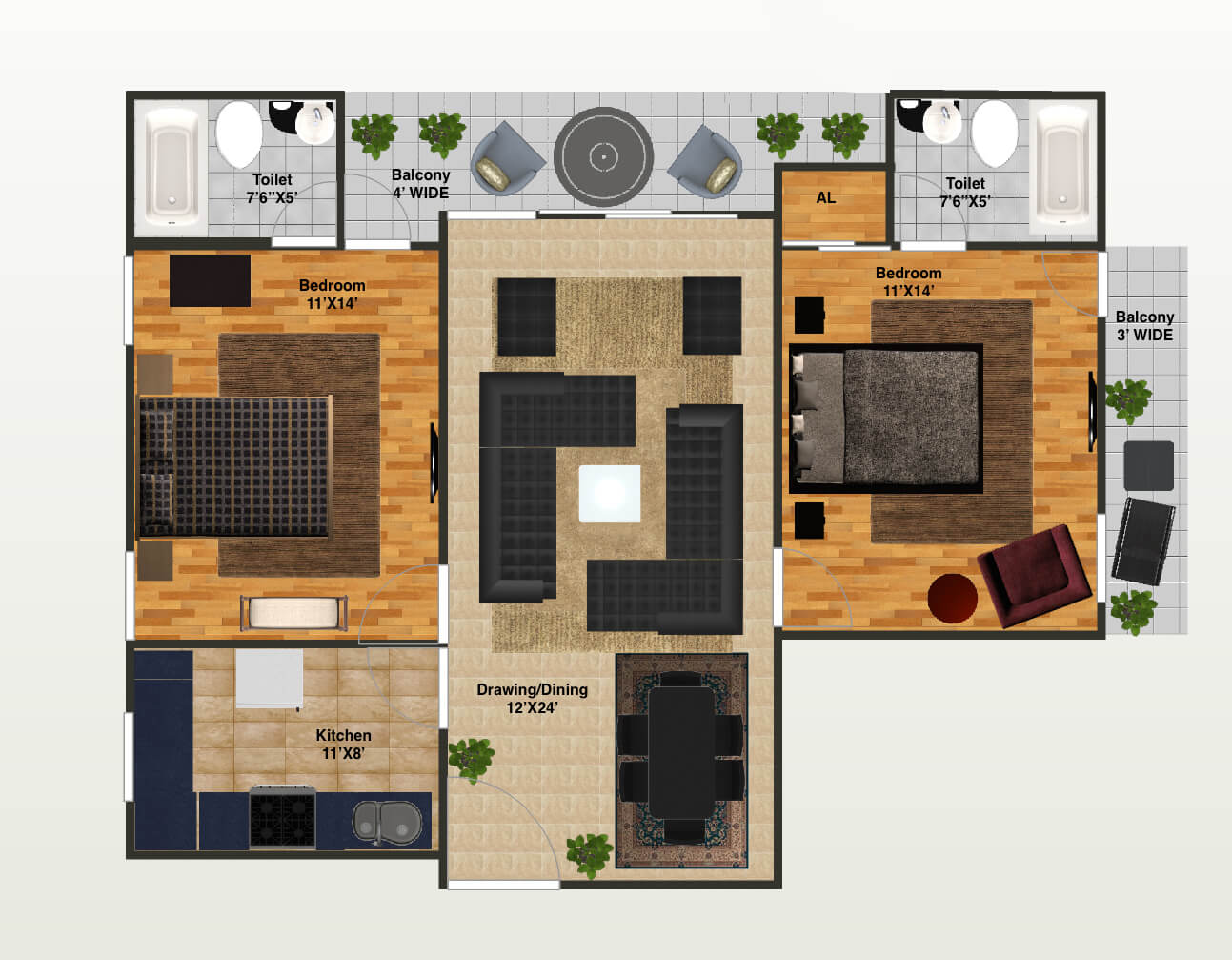 capital greenz apartment 2bhk 1540sqft 1