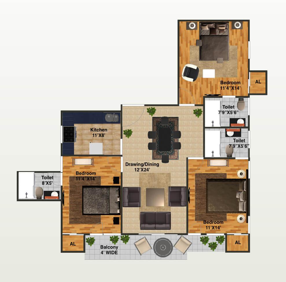 capital greenz apartment 3bhk 1805sqft 1