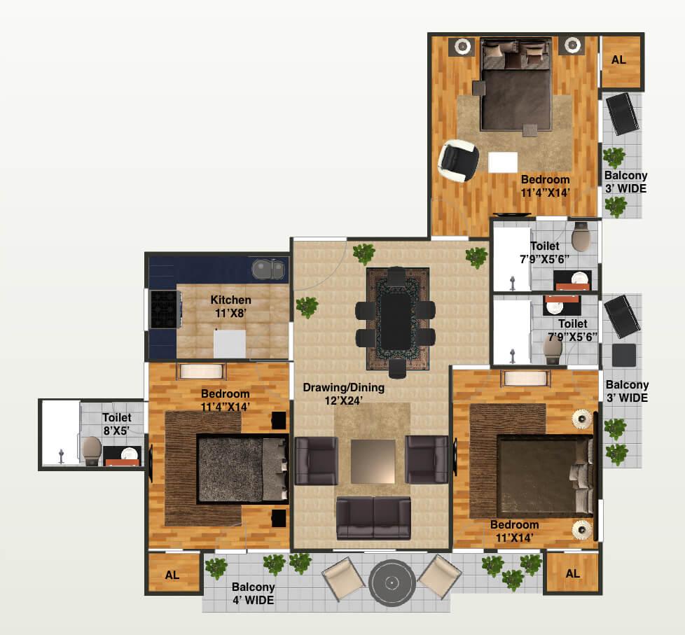 capital greenz apartment 3bhk 1863sqft 1