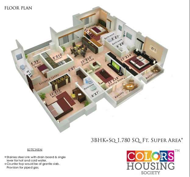 colors housing krisha heights apartment 3bhk sq 1780sqft 1