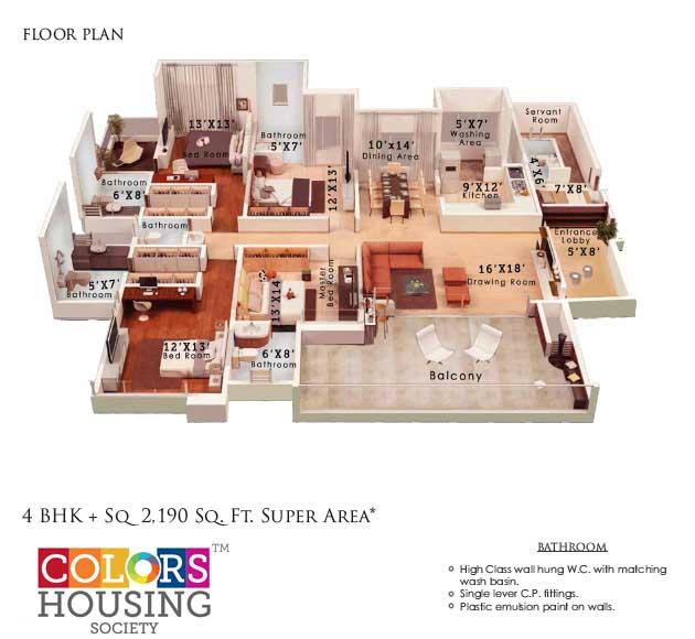 colors housing krisha heights apartment 4bhk sq 2190sqft 1
