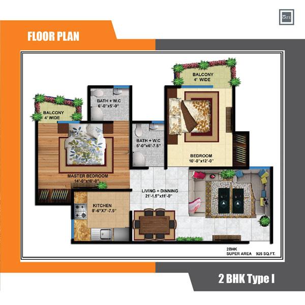 delhi infratech delhi gate apartment 2bhk 925sqft 1