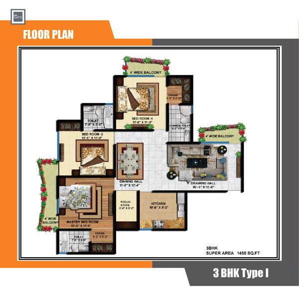 delhi infratech delhi gate apartment 3bhk 1450sqft 1