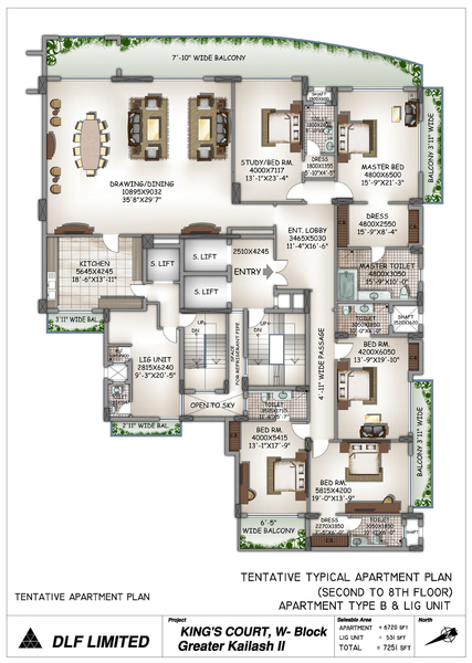 dlf kings court apartment 5bhk 6976sqft