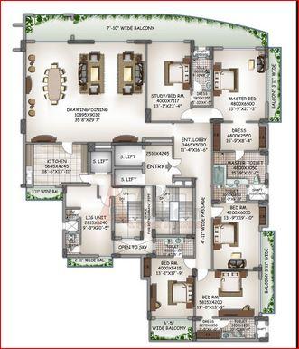 dlf kings court apartment 5bhk 7251sqft