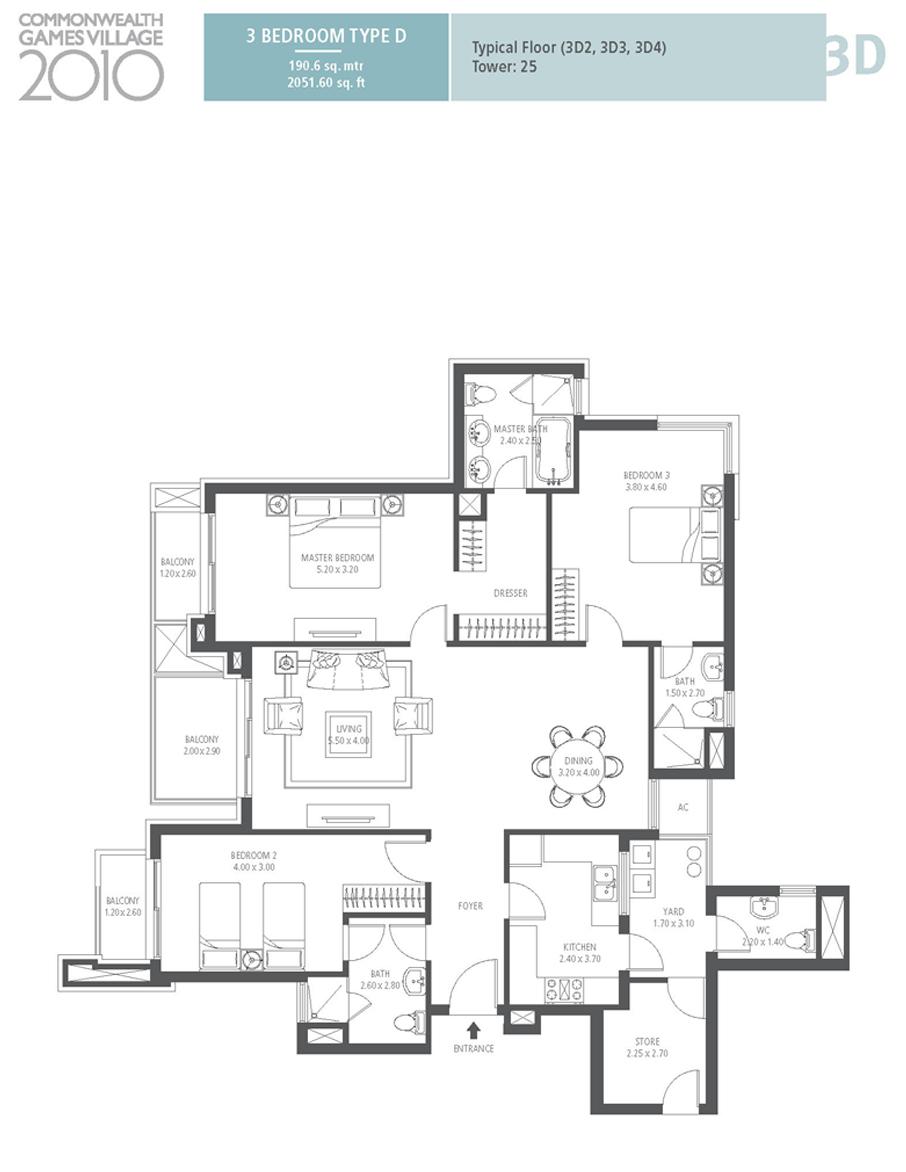 emaar mgf commonwealth games village apartment 3bhk 2051sqft