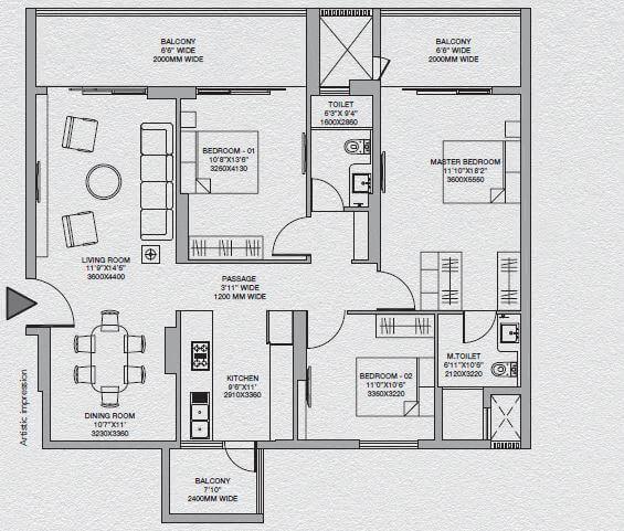 godrej south estate okhla apartment 2bhk 1198sqft 1