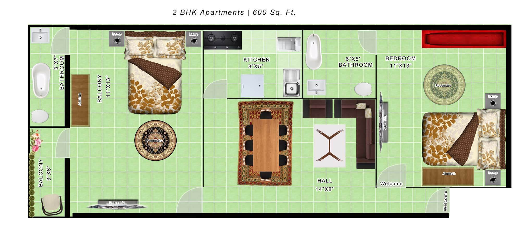 600 sq ft 2bhk floor plan thefloors co for Two bhk home plans