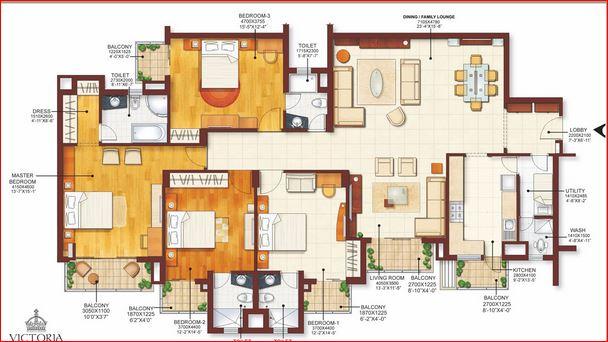 m2k victoria gardens apartment 4bhk 3450sqft
