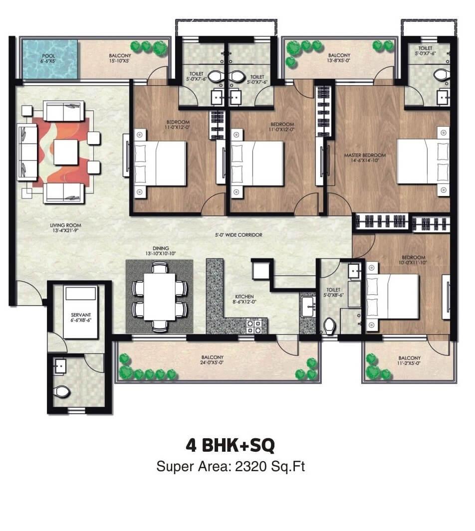 natures green infratech nirvana greens apartment 4bhk sq 2320sqft 1