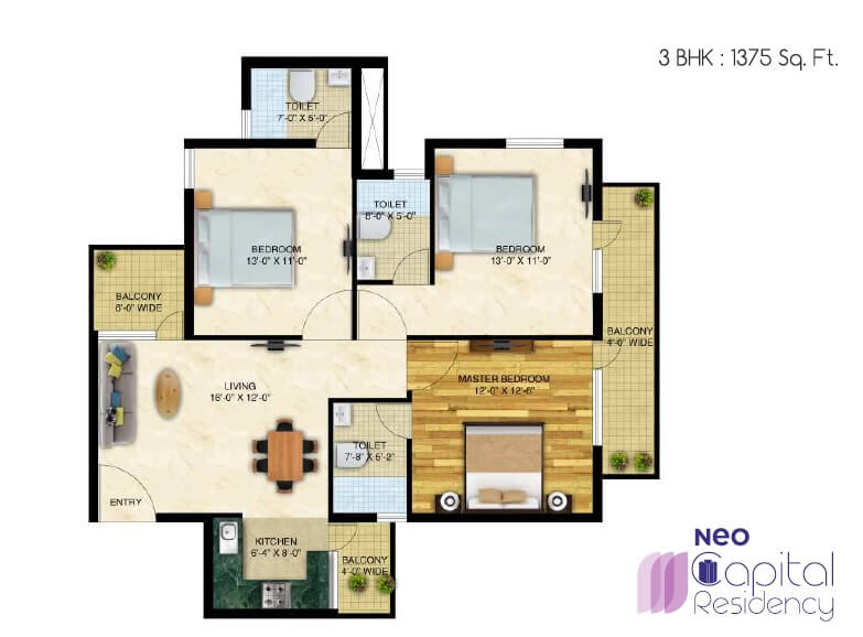 neo capital residency apartment 3bhk 1375sqft 1