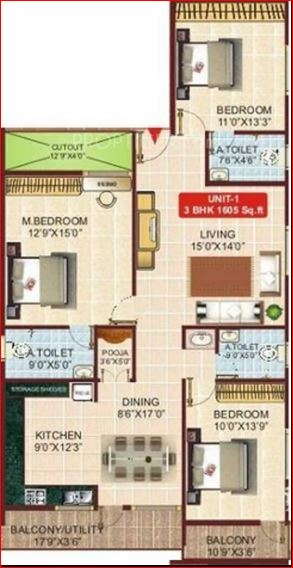 okd krishna apartment apartment 3bhk 1605sqft