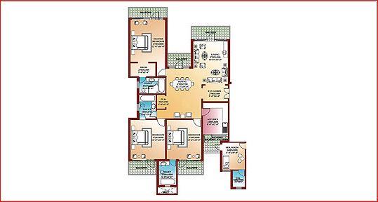 parsvnath la tropicana apartment 3bhk 2530sqft