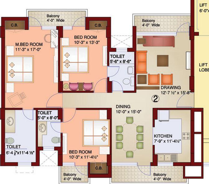 parsvnath paramount apartment 3bhk 1715sqft