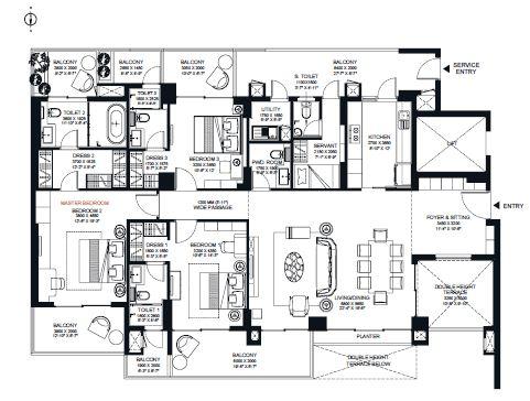 risland sky mansion apartment 3bhk 1615sqft 1