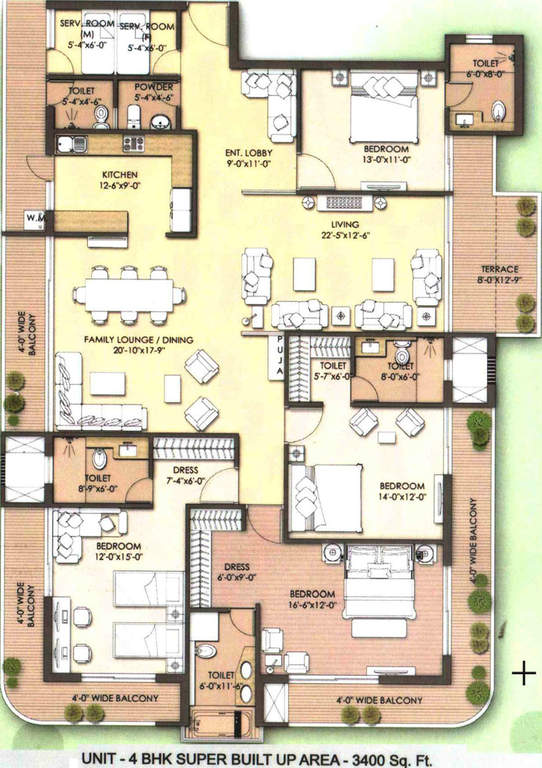 unity premium residences apartment 4bhk 3400sqft 1