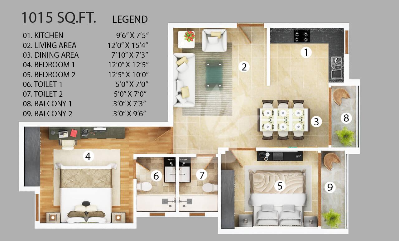 vanshi capital paradiso apartment 2bhk 1015sqft 1