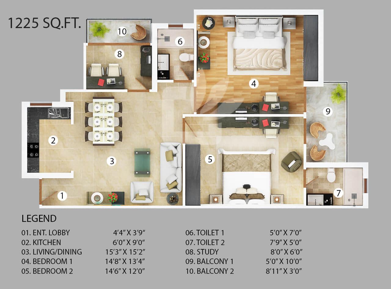 vanshi capital paradiso apartment 2bhk 1225sqft 1