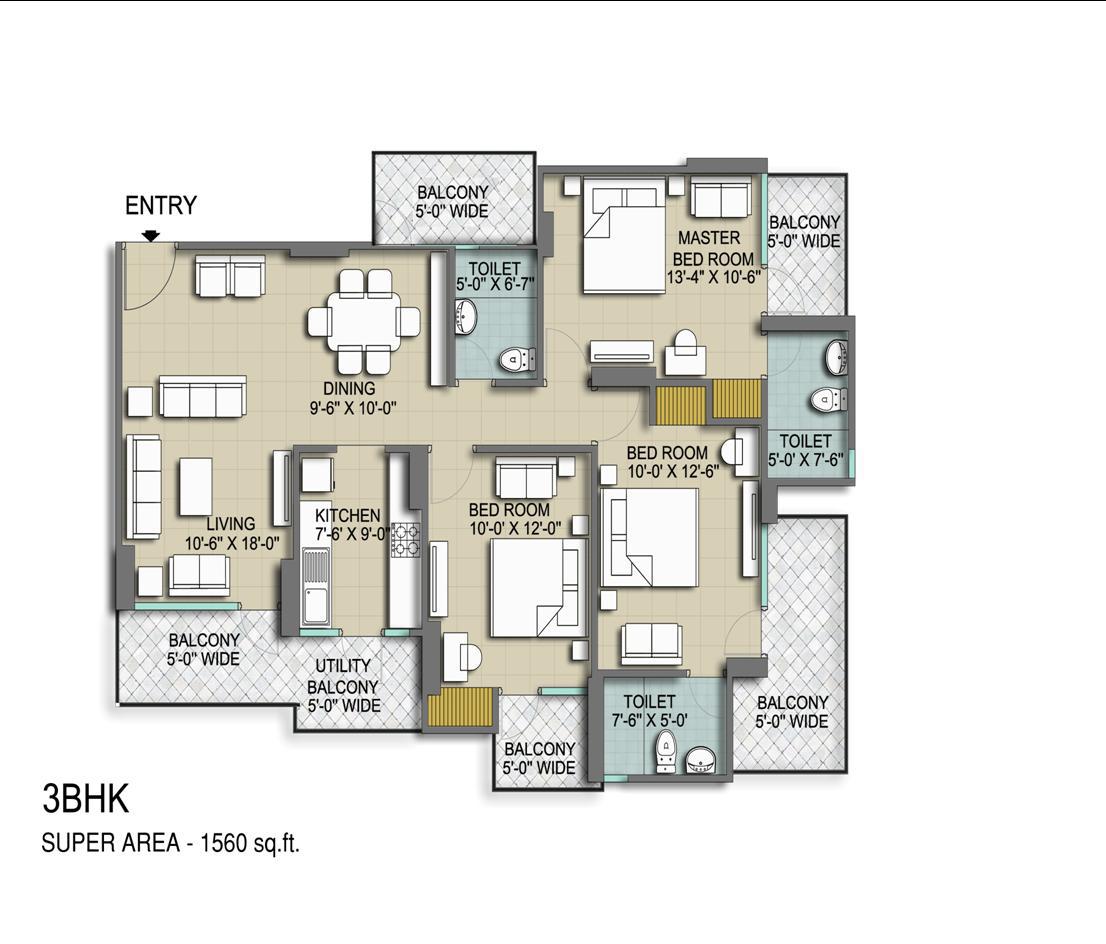 vanshi royal dwarka residency apartment 3bhk 1560sqft 1