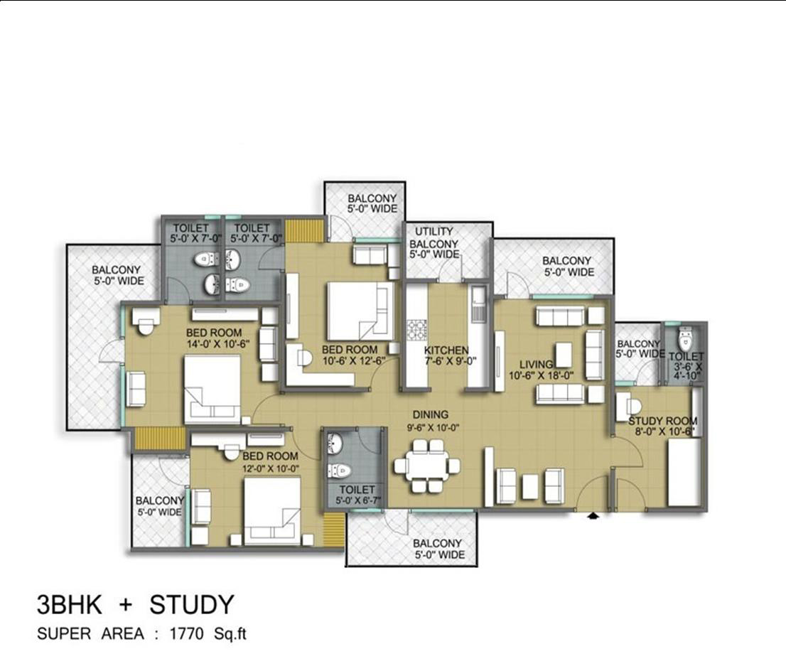 vanshi royal dwarka residency apartment 3bhk st 1770sqft 1