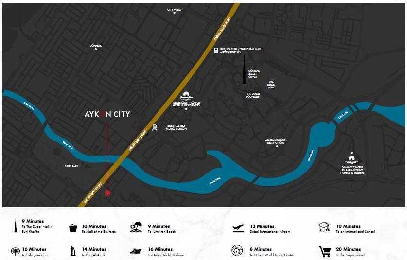 damac aykon heights project location image1