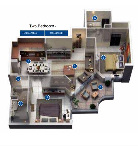 azizi pearl apartments apartment 1bhk 711sqft61