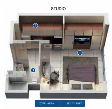 azizi pearl apartments studio 371sqft61