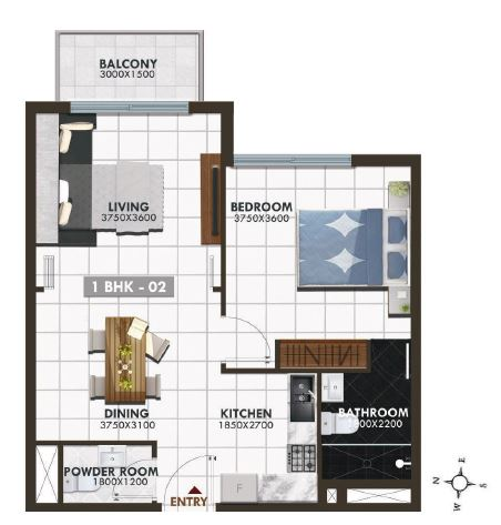 danube elz residence apartment 1bhk 683sqft91