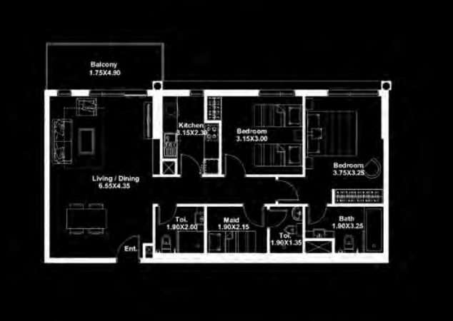 deyaar midtown apartment 2bhk 1105sqft341