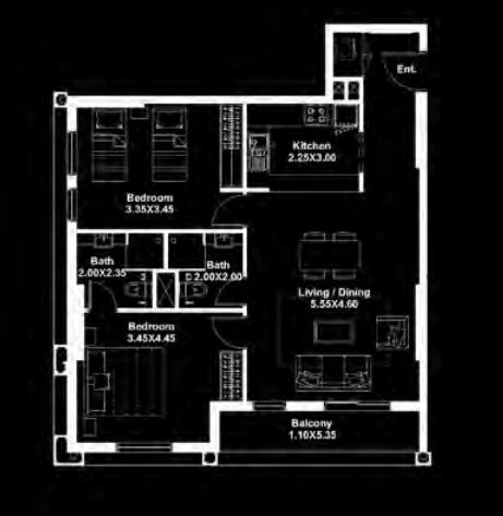 deyaar midtown apartment 2bhk 973sqft341