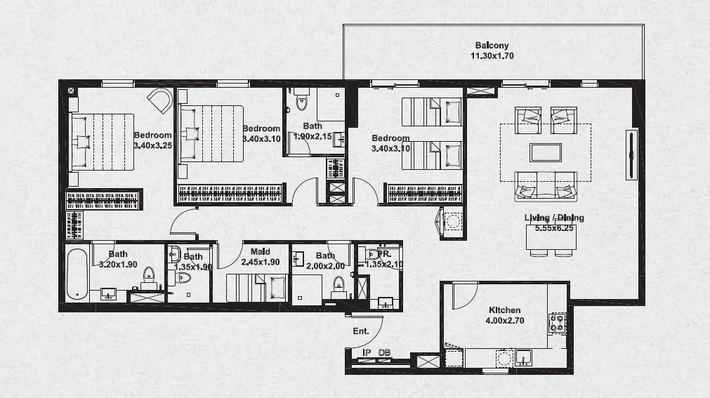 deyaar midtown noor apartment 3 bhk 1804sqft 20202904162908