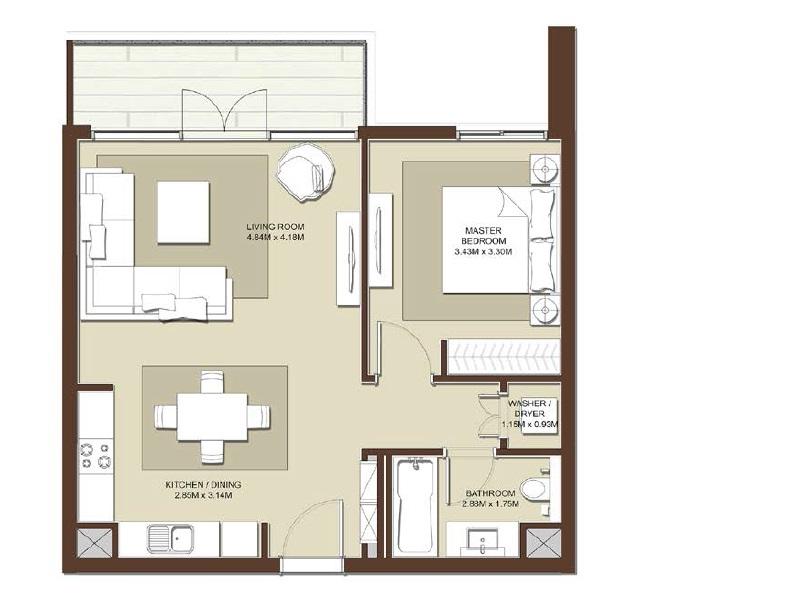 emaar acacia apartment 1bhk 753sqft531