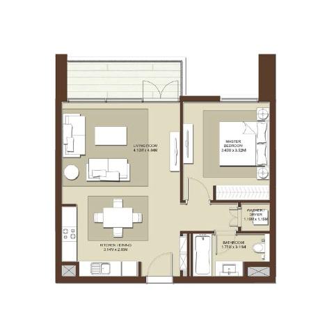 emaar acacia apartment 1bhk 761sqft531