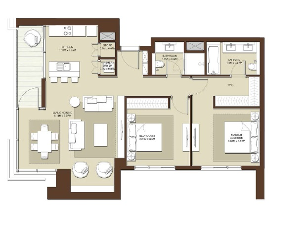 emaar acacia apartment 2bhk 1214sqft531