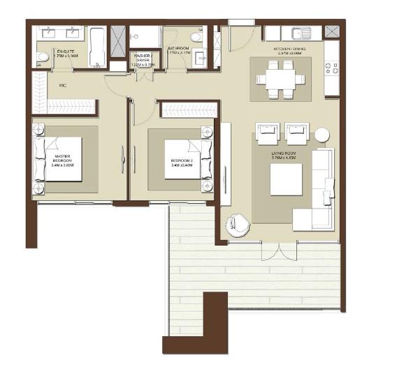 emaar acacia apartment 2bhk 1231sqft531