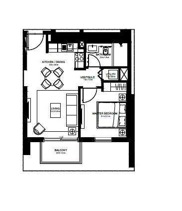 emaar burj crown apartment 1bhk 578sqft11