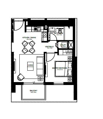 emaar burj crown apartment 1bhk 585sqft11