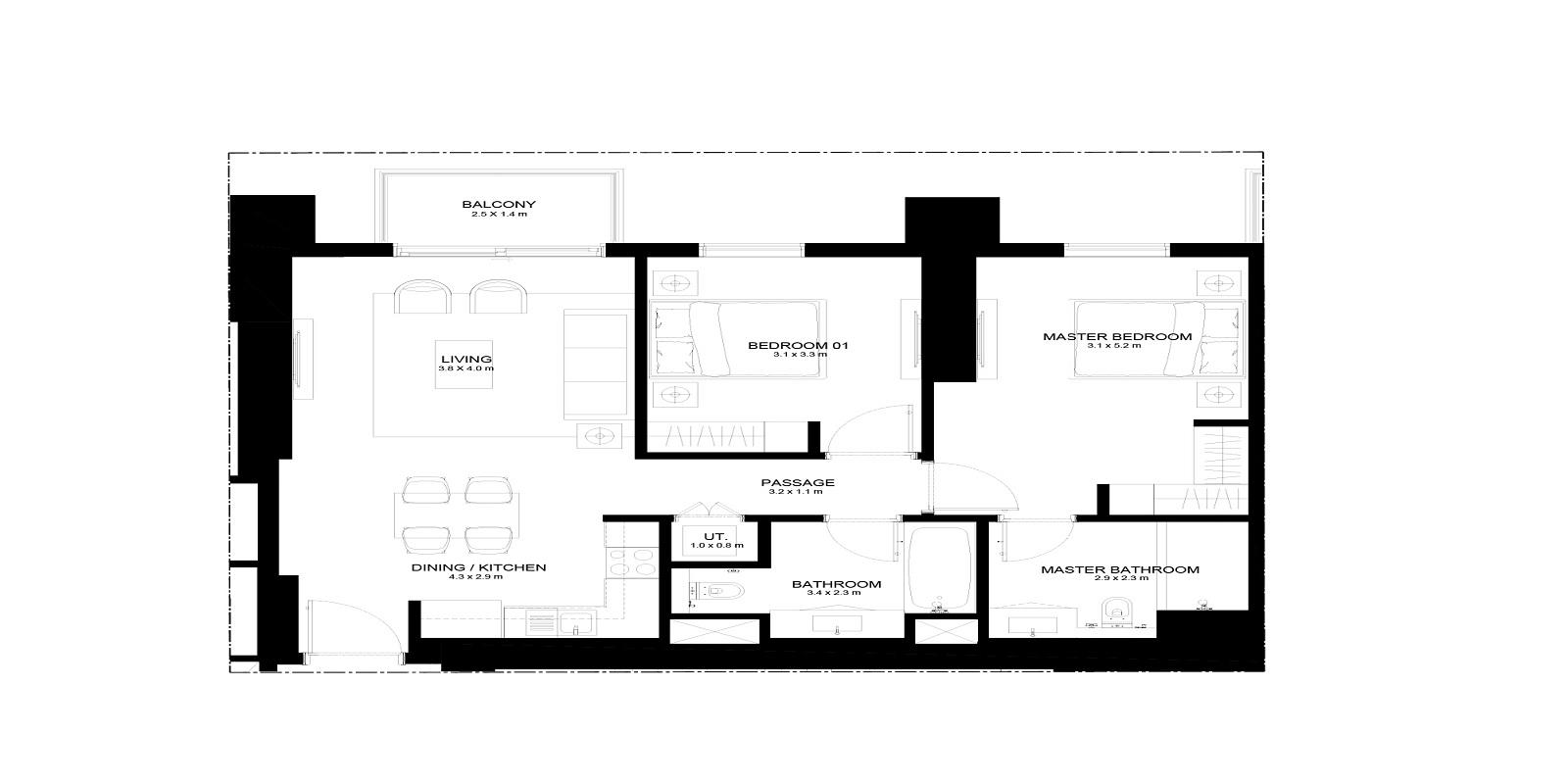 emaar burj crown apartment 2 bhk 987sqft 20201929151919