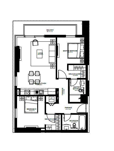 emaar burj crown apartment 2bhk 1066sqft171
