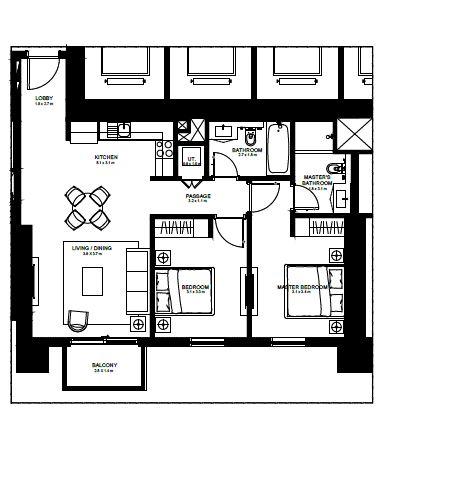 emaar burj crown apartment 2bhk 988sqft101