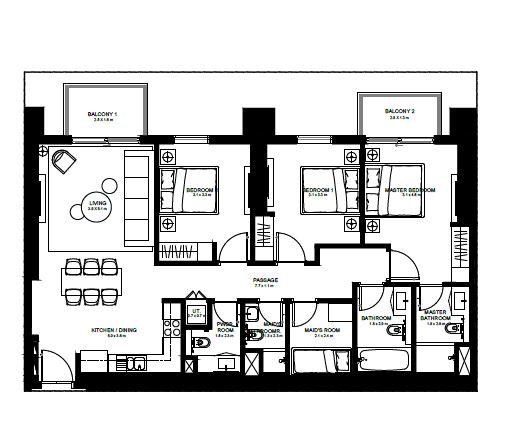 emaar burj crown apartment 3bhk 1357sqft221