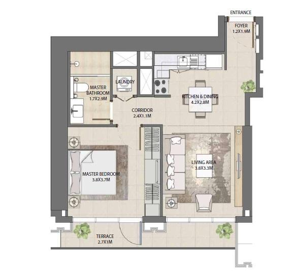 emaar burj royale apartment 1bhk 676sqft101