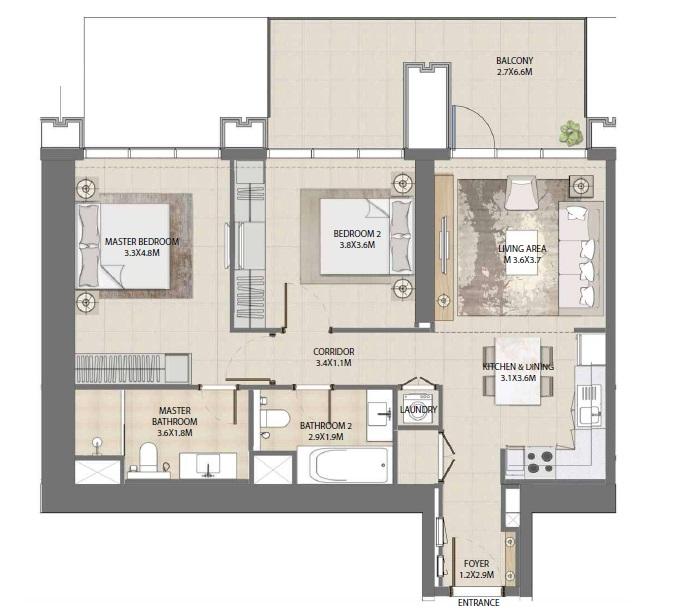 emaar burj royale apartment 2bhk 1108sqft271