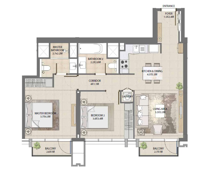 emaar burj royale apartment 2bhk 957sqft161