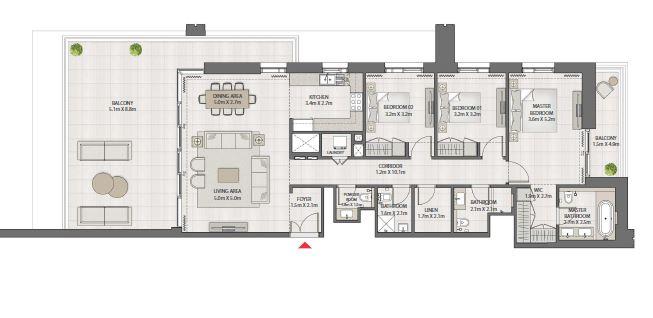 emaar creek edge apartment 3bhk 2286sqft301