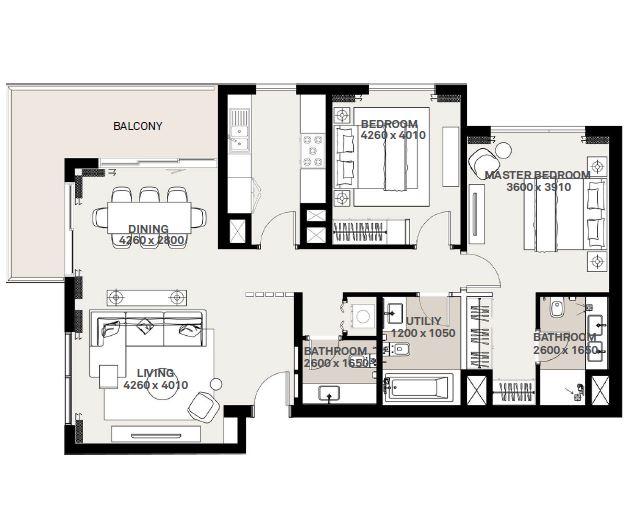 emaar executive residences 2 apartment 2bhk 1284sqft171